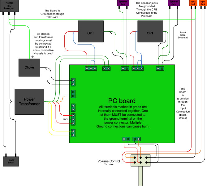 wiring diagrams tubelab cathode feedback is used in this diagram the secondary of the opt s are connected to ground on the pc board so a separate connection is not needed